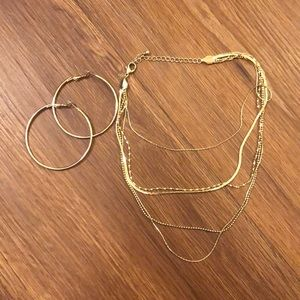 [Bundle] Gold Hoops & Layered Necklace
